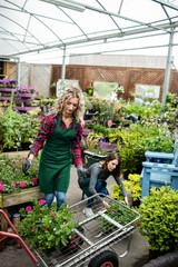 Two female florists working together