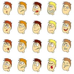 Vector emotions in cartoon faces of boys
