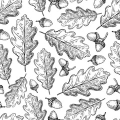 Seamless vector pattern with autumn leaves. Oak leaf and acorn d