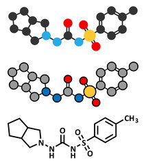 Gliclazide diabetes drug molecule. Sulfonylurea class anti-diabetic drug.