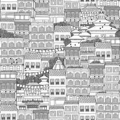 Hand drawn seamless pattern of Nepalese style houses with with Buddhist temple roofs