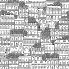 Hand drawn seamless pattern of Georgian style houses with balconies (Tbilisi)