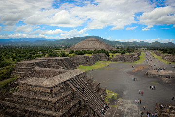 Panorama of pyramids of Teotihuacan complex, Mexico