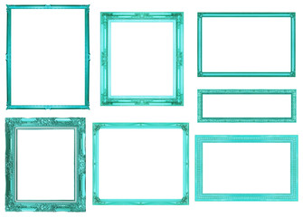 collection blue frame isolated on white background, clipping pat