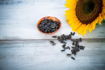 sunflower seeds on wood