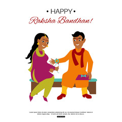 Brother and sister celebrating Raksha Bandhan tying rakhi. Indian traditional holiday background. Vector eps 10 format.