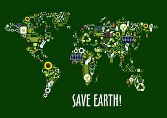World map icon composed of ecology symbols