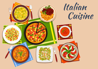 National italian cuisine menu dishes