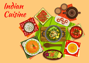 Indian cuisine menu with dishes and desserts