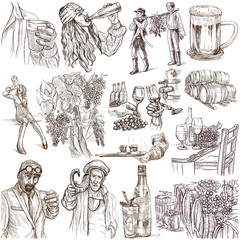 Drinking people. Drink. Alcohol.Collection of an hand drawing illustrations. Pack of full sized hand drawn illustrations. Set of freehand sketches. Line art technique. Drawing on white background.
