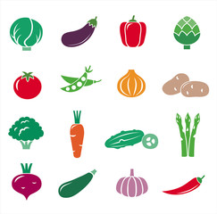 Big collection of vegetables symbols. Vector illustration.