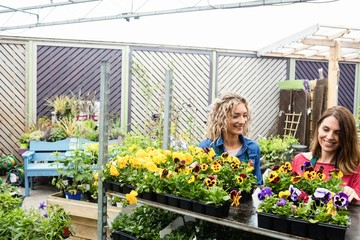 Two female florist smiling while checking plants