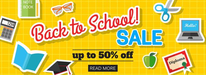 Back to school sale banner. Vector eps 10 format.