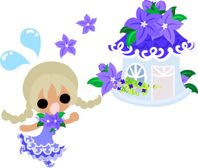 A cute little girl and the house of purple flower