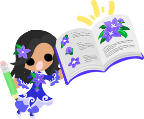 A cute little girl and the notebook of purple flower
