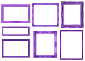 collection purple frame isolated on white background, clipping p