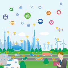 smart city and people conceptual illustration with various technological icons, futuristic cityscape and lifestyle, smart gird, IoT(Internet of Things), ICT(Information Communication Technology)