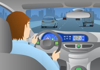 car cockpit back view, a man is driving a car through an urban road