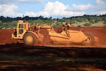 paddle scraper at work on rich volcanic soil near Kingaroy, Australia