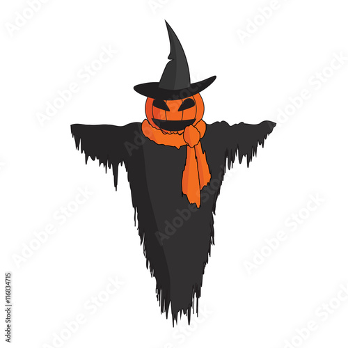 quotcute cartoon scarecrow with witch hat and a scarf