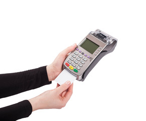 Inserting credit card in pos terminal isolated on white