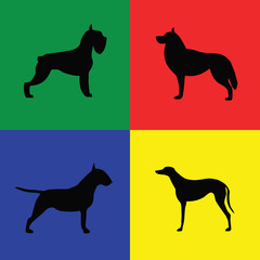 Four different black dog silhouette on colored background