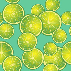 Vector illustration of lime slices on turquoise background in different angles. Pattern.
