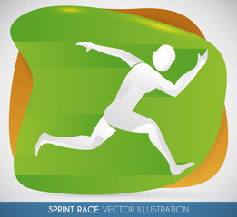Athlete Running Fast in the Sprint Race, Vector Illustration