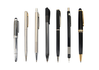 Set of pens isolated on white background.Pens isolated