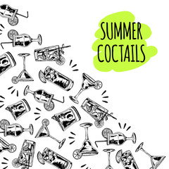 Summer coctails on white background