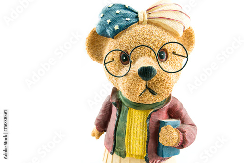 7aae6f8370e Cute teddy bear Wear glasses isolate on white background with copy space -  ceramic Teddy Bears.