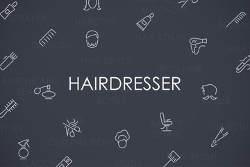 Hairdresser Thin Line Icons