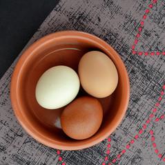 Oeufs de poule trois couleurs