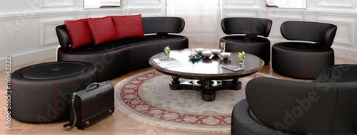 sitzlandschaft in schwarz kreisf rmige anordungung. Black Bedroom Furniture Sets. Home Design Ideas