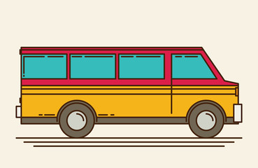 Vector illustration of minivan. Eps 10