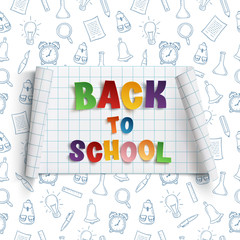 Back to school curved paper banner.