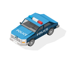 Isometric High Quality City Element with 45 Degrees Shadows on White Background. Police Car.