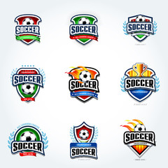 Soccer logo set. Football logotypes. Set of soccer football crests and logo template emblem designs, logotypes design concepts of football icons. Collection of Soccer Themed T shirt Graphics