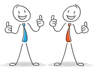 zwei Strichmännchen freuen sich über den Erfolg