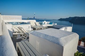 Resort In Santorini Greece Traditional And Famous Island In Aegean Sea