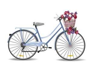 Bicycle with flowers isolated on white, Vector illustration