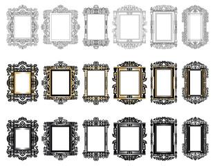 Set of Vintage Retro Vector frames. Black and gold ornamented frames