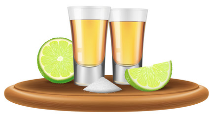 Tequila with lime and salt. Vector illustration.
