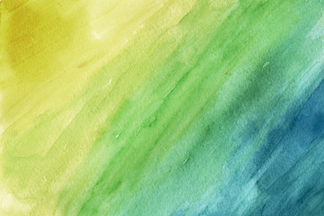 Yellow-green-blue grunge in watercolor.