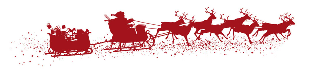 Santa Claus with Reindeer Sleigh and Trailer - Red Vector Silhouette