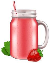 Strawberry juice / smoothie in a mason jar mug. Vector illustration.