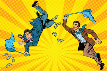 Poster Superheroes Competition, two businessmen catching money with a butterfly net