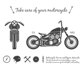 Vintage motorcycle infographic. old-school bike theme