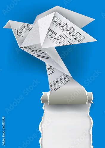 Origami Dove With Musical Notes Origami Paper Pigeon With Musical