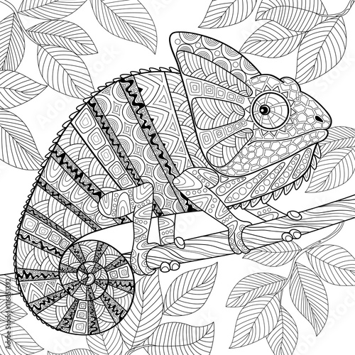 Chameleon Adult antistress coloring page Black and white hand
